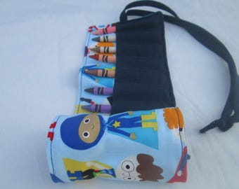 Superhero Boy Crayon Roll, Ready to Ship, Easter basket present, preschool coloring tool, learning toy