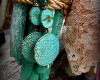 Earrings, Beaded, Turquoise, Dangles, Summer, Handmade,  Jewelry, Gift, Shabby Chic,  Accessories