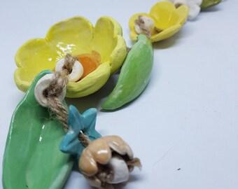 Ceramic flower wind chime