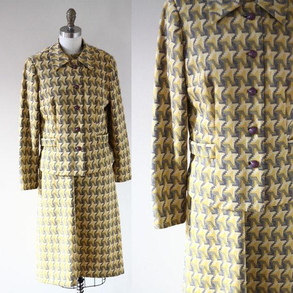 1970s geometric dress set // 1970 yellow skirt set // vintage dress set