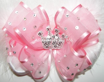 High Glitz Pageant Bow, Pink White Clip, Sparkly Silver Tiara Marabou Bow Barrettes, Baby Girls Princess Hair Clips, Over the Top Hair Bows