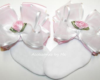Frilly Bow Socks, Pink White Socks, Organza Satin Rose Trim, Newborn Baby Girls Infant Toddler Sock, Wedding Blessing Baptism Birthday Socks