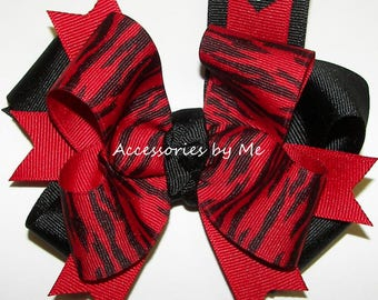 Tigers Cheer Bow, Red Black Ponytail Bow, Custom Team Color 4 Inch Girls Bows, School Softball Volleyball Spirit Hair Clip, Cheap Bulk Price