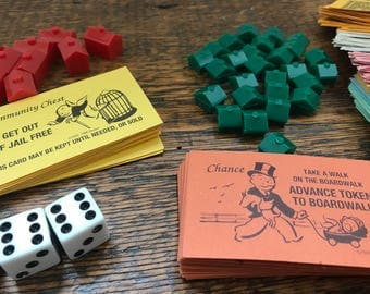 Vintage Monopoly Game Pieces / Monopoly Money, Houses, Apartments, Reading Railroad, Cards