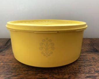Vintage Tupperware Yellow Servalier Canister 1204 and 1205