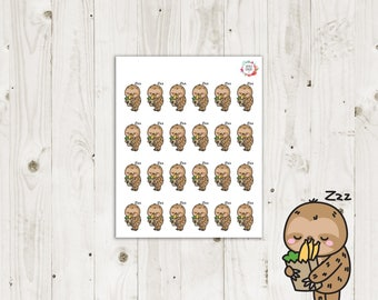Lazy Sloth Grocery Shopping Planner Stickers - ECLP Stickers