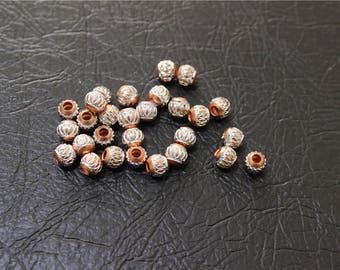 50 beads spacer with ribbed orange aluminum silverplate 6mm