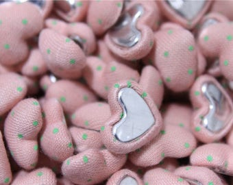 heart craft 40 buttons covered in pink fabric
