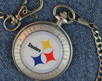 Pittsburg Steelers Pocket Watch • Quartz • Free Shipping! • Working and Ready for Use