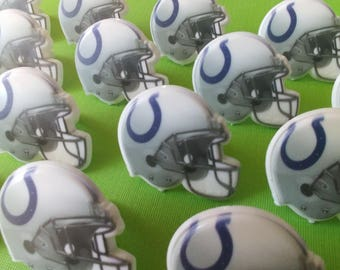 24 INDIANAPOLIS COLTS helmet cupcake rings NFL picks cake toppers football fan birthday tailgate party sport super bowl bachelor wedding