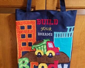 Large Personalized Kids Tote Bag, Boy Tote Bag, Canvas Tote Bag, Reversible Bag, Tote Bag for Kids, Truck Birthday, Boy Birthday Gift