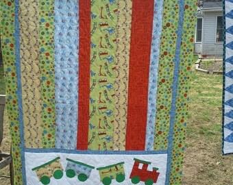 ON SALE Baby Boy Nursery Bedding, Boy Train Crib Quiilt, Boy Blanket, Train Nursery, Train Quilt, Boy Crib, Baby Boy Bedding, Scoot by Riley