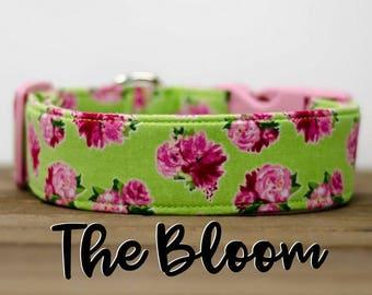 """Modern Floral Green & Pink Vintage Floral Inspired Dog Collar """"The Bloom"""""""