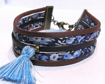 Cuff Bracelet, liberty and fake leather, tassels - blue, Red