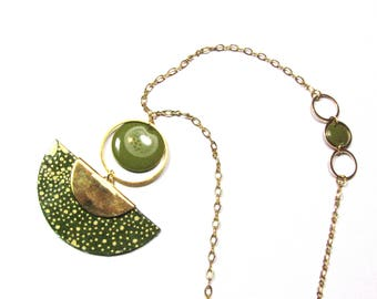 Necklace with variety of Japanese paper, sequin enameled Khaki, chain and jumprings