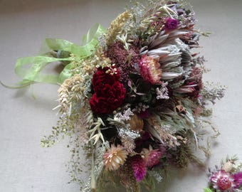 Woodland dried flower bridal wedding bouquet with protea peony roses and natural wildflowers rustic wedding bouquet with matching buttonhole