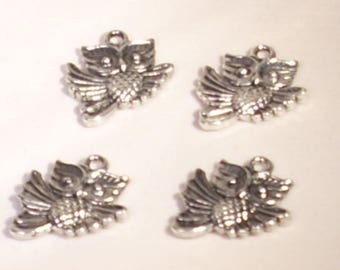 Set of 4 silver plated 17mm OWL charms