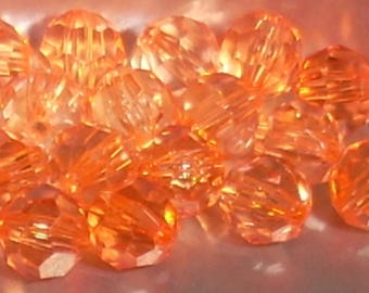 20 transparent 8mm clear Red faceted acrylic round beads