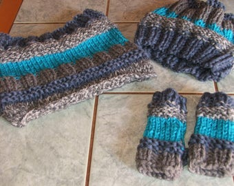Set hat, Snood, gloves size 2/4 - handmade - gray, blue, turquoise