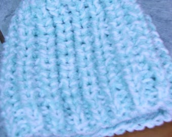 Beanie baby blue/white beaded sides - month-3/6 - handmade