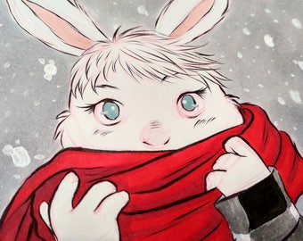 Original INKtober Fashion Piece - Winter Snow Rabbit, Original Art, Original Artwork, Original Ink, Original Drawing, Fashion Art Piece