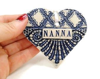 Nanna Ornament, Grandmother Christmas Ornament, Mother's Day Gift, Nanna Birthday, Valentine Heart, Grandmother Gift, Nanna Christmas