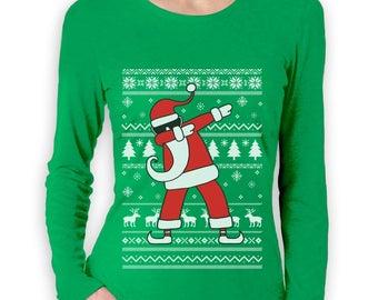 Dabbing Santa Funny Ugly Christmas Party Women Long Sleeve T-Shirt