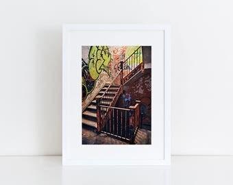 Psych Ward Stairway - Urban Exploration - Fine Art Photography Print