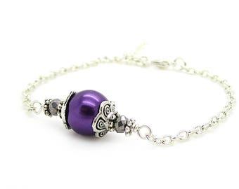 Simple Purple Pearl Bracelet, Eggplant Wedding Jewellery, Lapis Wedding Bracelet, Amethyst Bridesmaid Gifts, Bridal Party Jewellery