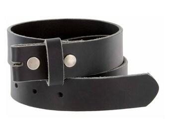 Black Genuine Leather Belt Strap - 1 1/4 inch wide - Snap Leather Belt For Belt Buckles -  Sale - Removable - Distressed