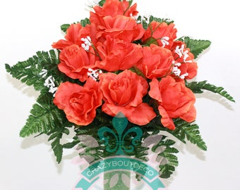 Gorgeous Fall Roses Cemetery Arrangement For Mausoleum