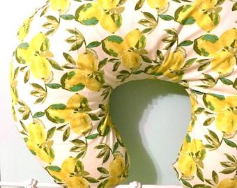 Boppy Cover - Lemons, Yellow, Green - Nursing Pillow - Baby Girl or Boy - Baby Shower