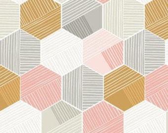 Baby Bedding Crib Bedding - Honeycomb, Pink, Gold, Gray, Geometric - Baby Blanket, Crib Sheet, Crib Skirt, Changing Pad Cover, Boppy Cover
