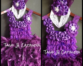 Purple lace feather dress with satin flower headband pageant holiday birthday photo prop vintage costume cake smash tutu baby girl wedding