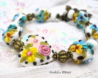 Bracelet unique glass beads handmade lampwork Cordelia BR400