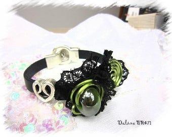 Bracelet leather Black Lace and Green Aluminum * Dalina BR471 *.