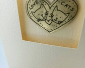 Love Cats handmade greetings card with cute metal motif by Sharon McSwiney. Wedding Day for cat lovers.