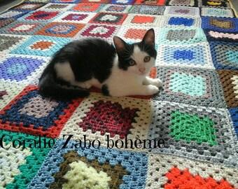 Plaid crochet-petite couverture laine crochet bohème faite-main