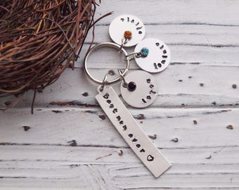 Personalized Hand Stamped Best Mom Ever Name And Birthstone Keychain | Family Birthstone Keychain | Best Mom Ever | Keychain Gift For Mom