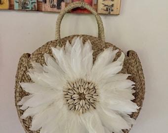 Round Girasol   Handmade Rattan|Ata Grass Round bag; Bali bags;; Boho bag; Hippie Bags; Made from Bali, Indonesia