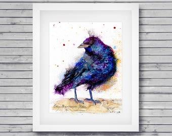 Crow spirit art, raven bird art print, gothic crow symbolism art, bird lover gift idea, crow wall art, wall decor by Ellen Brenneman