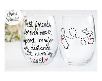 Best Friend Gift, Long Distance Best friend ,Long Distance Friendship, Friendship Gift ,Distance friendship, Wine Glass, Bff Birthday Gift