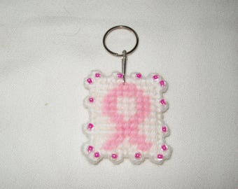 Pink Ribbon Breast Cancer Awareness Keychain/Zipper Pull Handcrafted Plastic Canvas Needlepoint