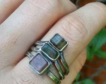 Tourmaline and Ruby Rustic Silver Stacker Rings :Size 9