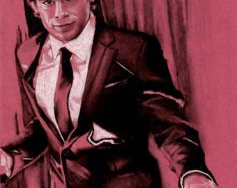 Original A4 charcoal drawing of Dexter.