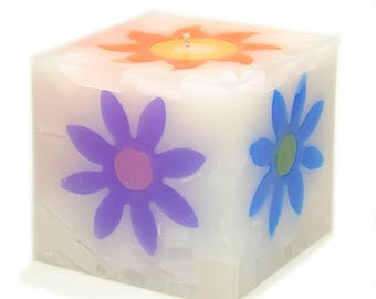 Cosmic Candles Flower Square Pillar Unscented 4x4