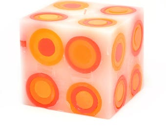 Cosmic Candles Red Orange Yellow Super Ball Square Pillar Unscented 4x4