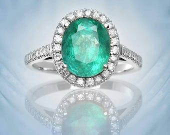 Emerald halo ring, diamond ring, emerald and diamonds ring, 18k white gold, multicolor ring, engagement ring, fine jewelry, oval halo ring