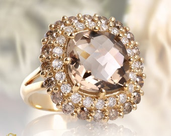 Smoky Topaz and Diamonds Ring, Multi Color Ring, Shampagne Diamonds, White Diamonds, 10ct Gemstone Smoky topaz, 2.00ct Total Natural Diamond