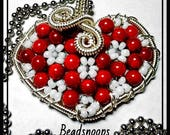 Red coral beaded heart-wire wrapped necklace